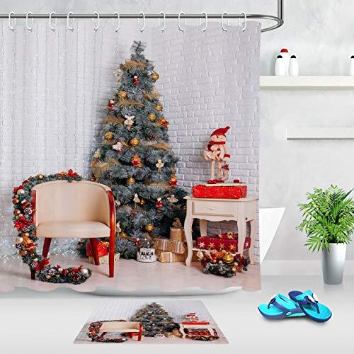 Weiße Backsteinmauer Weihnachtsbaum Sofa Girlande Duschvorhang Set Duschvorhang Badematte Set 12 Haken Duschvorhang wasserdicht Badzubehör