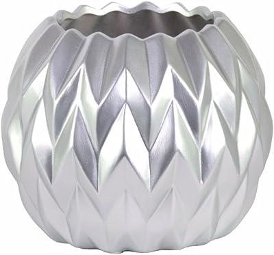 Benzara Ceramic Round Low Uneven Lip-Large-Silver Vases
