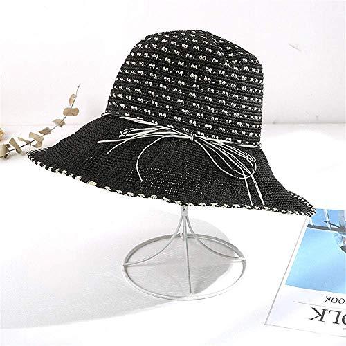 Ybzx Sombrero de Paja para Mujer, Sombrero para el Sol de Verano, protección Solar, Sombrero para el Sol, Vacaciones en la Playa, Vacaciones, Sombrero de Playa Plegable para Mujer