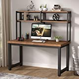 Tribesigns Solid Wood Computer Desk with Hutch, 55 Inches Large Office Desk with Storage Shelves, Modern Simple Writing Desk PC Student Table Workstation for Home Office, Rustic Brown