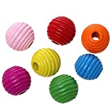 Sadingo - Perlas de madera de colores para manualidades para niños, 50 unidades, 20 mm, agujero grande