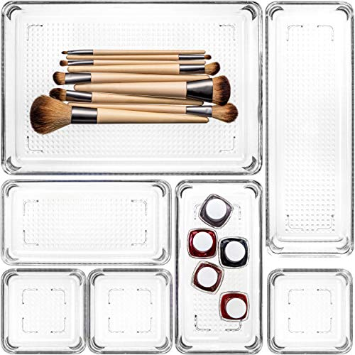 Home Deconizer Premium Quality 7-Piece Desk Drawer Organizer for Makeup,Vanity, Office, Bathroom, Kitchen,Pantry| Multi-Purpose Storage | Durable | Easy to Clean | BPA-Free
