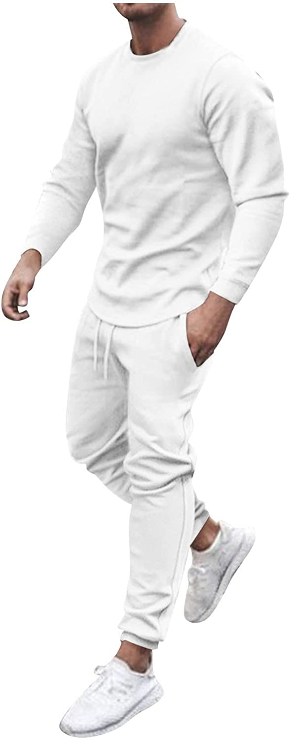WOCACHI 2021 Sports Set for Mens, Long Sleeve Outfits 2 Piece Set T Shirts and Shorts Casual Sweatsuit Set Tracksuits