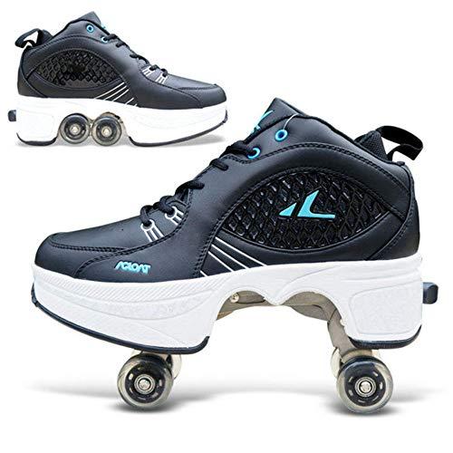 FTYUNWE Inline-Skates Mädchen Rollschuhe Damen,Lauflernschuhe Sneakers Skateboardschuhe Kinder Mit Rollen Multifunktionale Deformation Schuhe Beste Wahl,Black-41