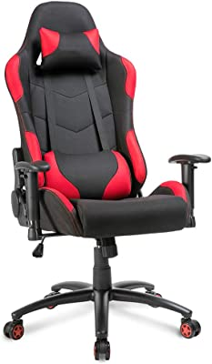 FGONG Modern Personality Mesh Gaming Chair, High Back Material, Ergonomic Swivel Chair, Multi-Function Adjustable Pillow and Armchair (Red)