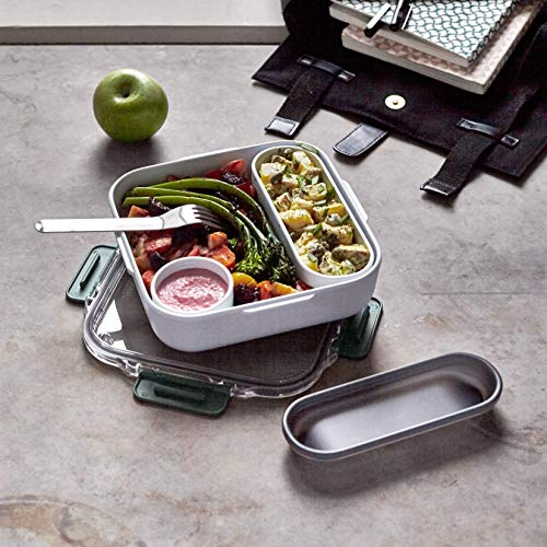 Product Image 2: Black+Blum   BPA-Free, Leak-Proof Microwave Safe Bento Box Style Compartment Food Container, with Stainless-Steel Fork, Ocean, 1000 ml/ 34f l oz