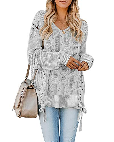 Fabric:Smooth and Soft,ACRYLIC.Comfortable fabrics. Features:The pullover sweater with cable knit and lace up design make you looks fashion and special,comfortable wear,perfect wear with jeans,joggers and casual pants. Design:V Neck,Cable Knit,Long S...