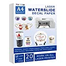 Waterslide Decal Paper LASER - 20 Sheets A4 Size Clear Water Slide Paper Transparent Printable Water Slide Decal Paper for Tumblers, Mugs, Unique Gift
