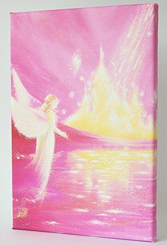 Henriettes-ART Cadeau de Communion Ange Cadeau pour Les Parents, Mamas, Cadeau de baptême, Impression sur Toile, Pink, Rosa, Gold, Weiß, 20 x 30 cm