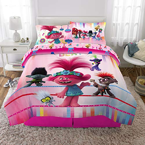 World Tour Trolls Comforter with Sheets 5 Piece Full Size Bed in a Bag Bundle Set Kids Bedding