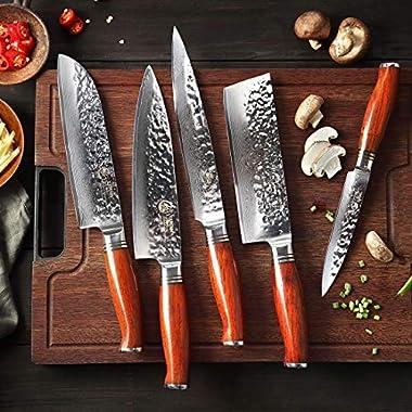 5 couteaux Damas pas cher pour chef de cuisine