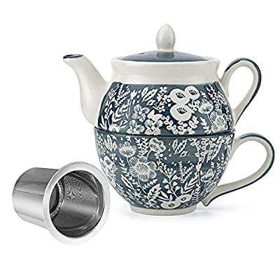 Taimei Teatime Hand Painted Tea for One Set, Ceramic Tea Pot(11 fl oz) and Cup Set with Infuser for Loose Leaf Tea, Floral Cyan