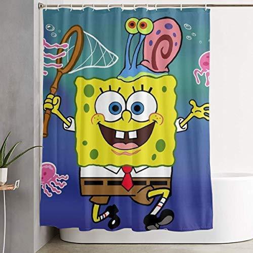 ChenZhuang Duschvorhang Spongebob fängt Octopus Wasserdichten Vorhang 60 x 72 Zoll