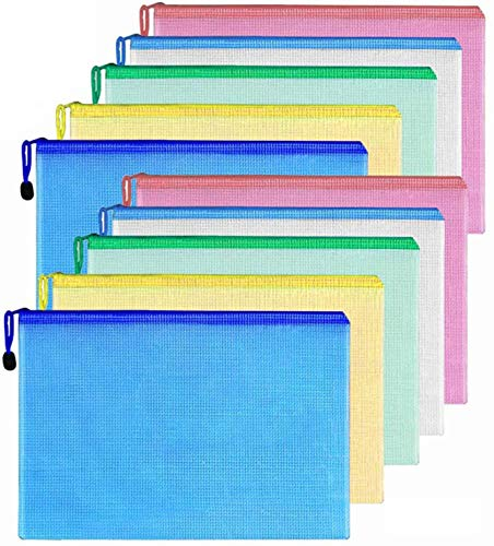10 Piezas Bolsas de Documentos A4+A3, Bolsa de Archivo de Cr