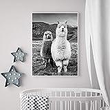 sanzangtang Decoración del hogar Lienzo Animal Alpaca Estilo nórdico Negro Blanco HD Imprimir Poster Pintura Sala de Estar Arte de la Pared Cuadro Modular Sin Marco 50x75cm