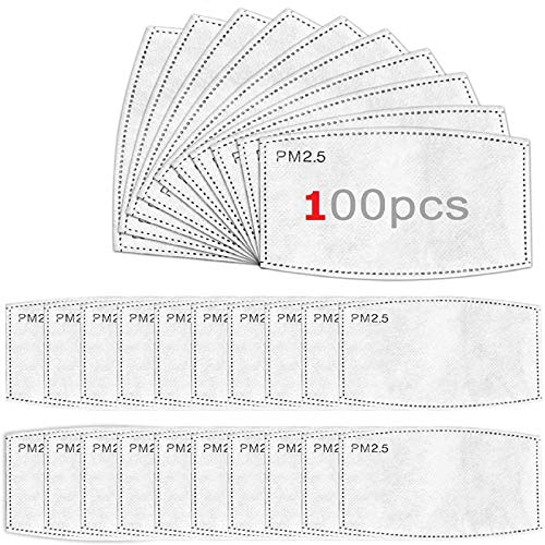 100 Pack Filters for Face Mask - Refill PM2.5 Masks Filter Replacement for Men Women
