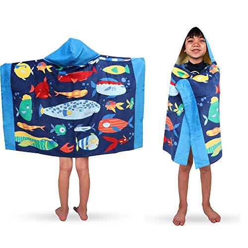 LOVSE Toalla de baño con capucha para niños, de algodón suave, con dibujos animados, para natación, surf, poncho deportivo