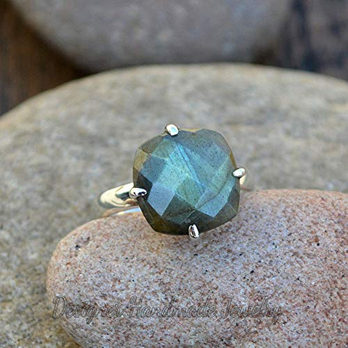Amethyst Citrine aquamarine labradorite women ring 4 stone vintage gemstone sterling silver ring antique birthstone ring