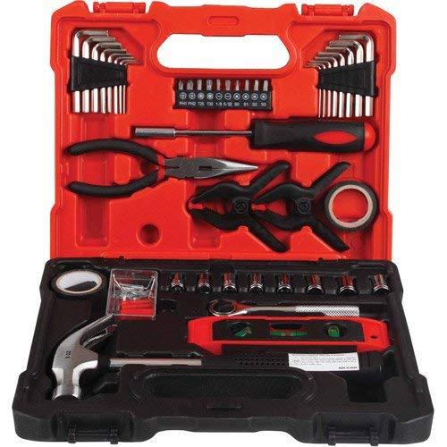 iWork L-80-786 - Maletín 360º con 45 Herramientas (29.5 x 24 x 15 cm), color rojo - Juego de 45 herramientas que necesitas para el mantenimiento tanto de tu casa como de cualquier otra dependencia