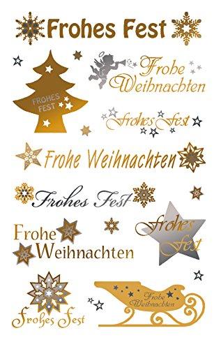 AVERY Zweckform Art. 52720 Aufkleber Weihnachten 20 Schriftzüge in gold/silber (Weihnachtssticker mit Goldeffekt, selbstklebende Weihnachtsdeko für Karten, Geschenke, DIY) 2 Bogen mit je 10 Stickern