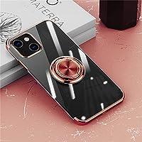 iPhone 13 mini ケース リング付き 透明 ケース クリア TPU 耐衝撃 リングケース アイホン 13 mini カバー メッキ おしゃれ スタンド機能 防塵 薄型 軽量 変形防止 全面保護カバー iPhone 13mini 5.4インチ アイフォンケース (ローズゴールド)