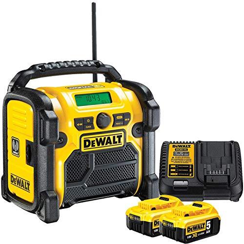 DeWALT DCR020 240V DAB FM Jobsite Digital Radio with 2 x 5.0Ah DCB184 & DCB115