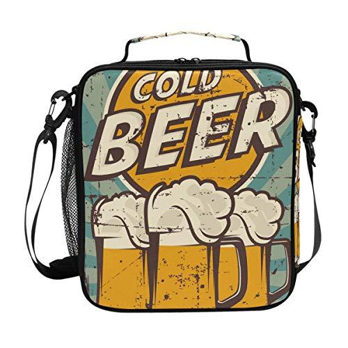 Kühltasche für kalte Biere, Vintage-Lunchtasche, isoliert, mit Schultergurt, für Damen, Herren, Jungen, Mädchen, große Tragetasche für Picknick, Schule