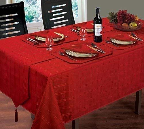Lujoso moderno Navidad Woven Check Jacquard rojo servilletas