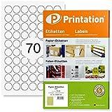 Etichette universali rotonde, diametro 24 mm, 1750 punti di marcatura autoadesive, stampabili, 25 fogli DIN A4 con etichette/adesivi rotondi da 24 mm.