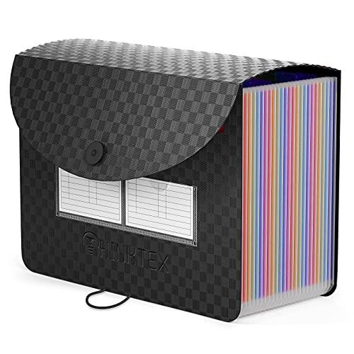 Accordian File Organizer 24 Pockets - Expanding File Folder Expandable Cover,Portable Filing Box,Desktop Accordion Folders,Plastic Colored Paper Document Paperwork Receipt Organizer(A4/Letter Size)