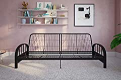 MODERN DESIGN | Features a contemporary low seating design ideal to complement any décor 3-in-1 | Converts easily and quickly from a sofa to a lounger, to a full-size bed. Retainer clips prevent mattress from sliding STURDY FRAME | Sturdy metal frame...