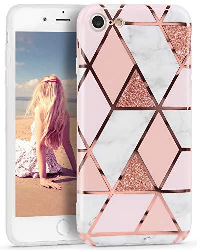 Imikoko Hülle für iPhone 7/iPhone 8/iPhone SE(2020) Glitter Bling Rosegold Handyhülle TPU Silikon Weiche Schlank Schutzhülle Handytasche Flexibel Case Handy Hülle