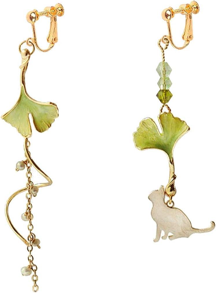 Gold Plated Clip on Earrings White Cat Ginkgo Biloba Leaf Dangle Long Tassel Drop for Girls Women