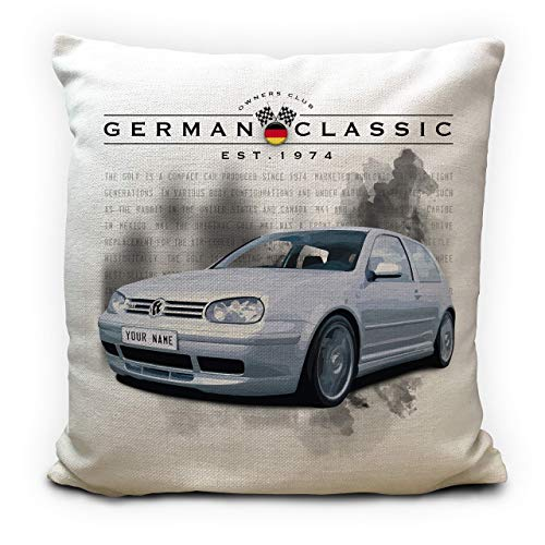 Personalised Golf Mk4 GTI Classic Car Cushion Cover Gift - Your Name