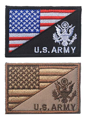 Antrix 2 Pcs American Flag/U.S. Army US Armed Forces Embroidered Military Morale Patches Hook & Loop Emblem Badge for Hats Backpacks Bags Jackets