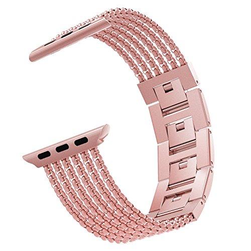 MoKo Cinturino Orologio Compatibile con iWatch 42mm 44mm Series 5/4/3/2/1, Cinturino Smartwatch in Acciaio Inossidabile con Maglie antisudore, Cinturini Ricambio, Cinturino Accessori, Rosa