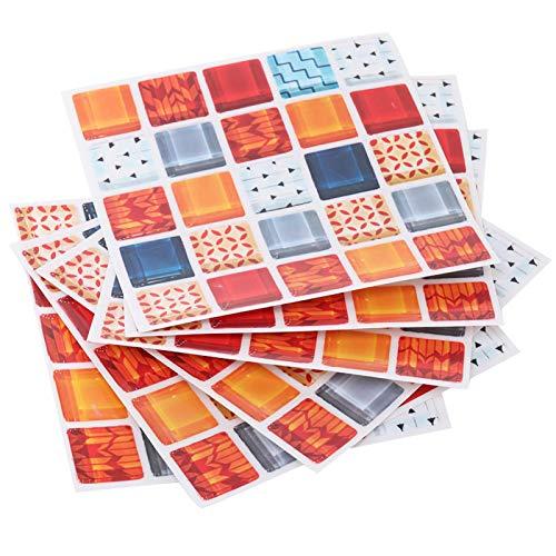 Adhesivo de Pared, 6 Piezas de Mosaico Autoadhesivo para Azulejos de Pared Pegatina de Cocina Pegatinas a Prueba de Aceite decoración de baño(FX715)