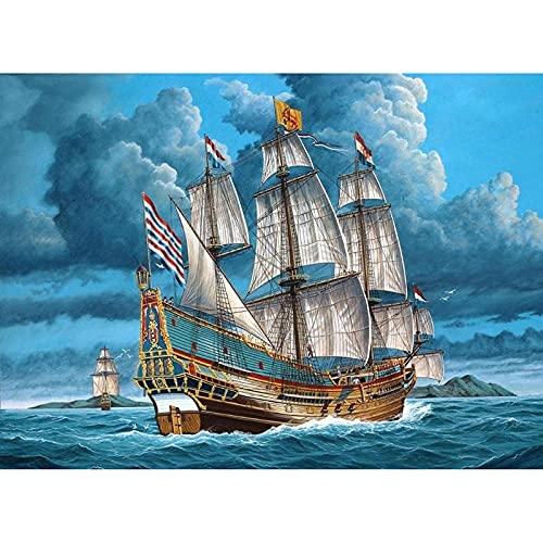 Kit de conteo de punto de cruz, kit de impresión, decoración del hogar, patrón de punto de cruz, barco de vela de mar, 11CT40x50, tejido preimpreso, bordado, manualidades, kit de aguja e hilo, kit d