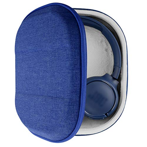 Geekria UltraShell hoofdtelefoonhoesje voor JBL Tune500BT, T450BT, E45BT, T600BTNC, Live 400BT koptelefoon en meer, beschermende harde schelp reistas met ruimte voor accessoires (ontvouwen editie, blauw)