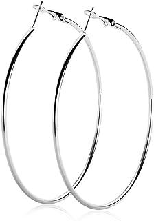 1 Paire Fashion Femmes Argent or grand cercle anneau Hoop Dangle Boucles d/'oreilles mariage