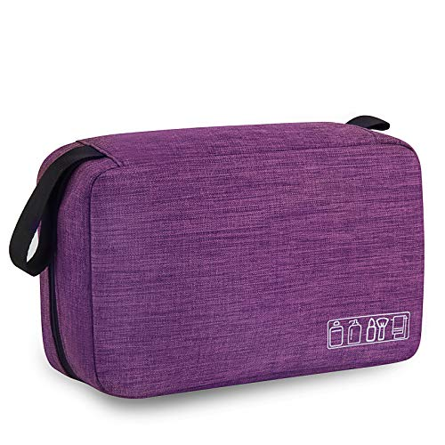 Travel Toiletry Bag for Women Girls, Waterproof Hanging Toiletries Makeup Organizer Hygiene Bag Portable Compact Cosmetic Gym Shower Bathroom Dopp Kit Toiletry Storage Bag(Violet)