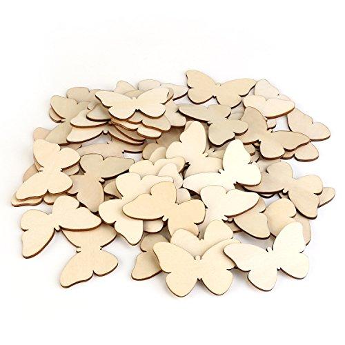 TINKSKY 50 Stück Holzscheiben Diy Holz Deko Holz Scheiben Scheiben unvollendete Schmetterling Holz Ausschnitt