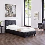 CARO-Möbel Polsterbett Glasgow Bettgestell 90 x 200 cm Einzelbett Designbett mit Strasssteinen inklusive Lattenrost Lederimitat in schwarz - 3
