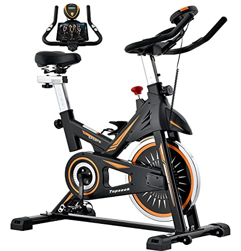 Topseek Indoor Cycling Bike - Exercise Bike for Home Gym Stationary Bikes with Comfortable Seat Cushion, Silent Belt Drive, iPad Holder and Hand Pulse