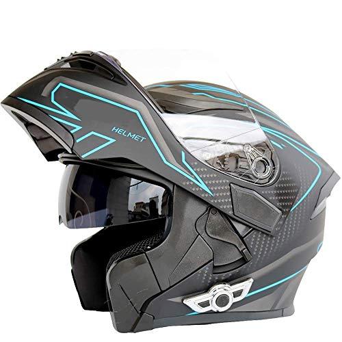 BBJZQ DOT Motorcycle Full Face Helmet Modular Flip Up Front Motorcycle Helmet with Bluetooth Intercom Air Ventilation Lightweight ABS Removable Lining Shell Street Bike Motorbike Touring