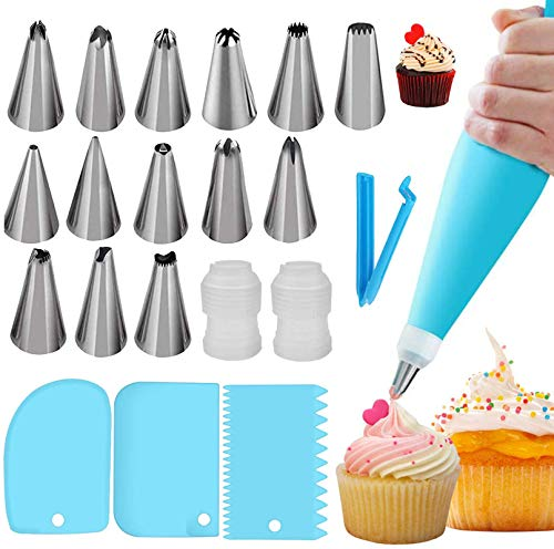 22pcs Piping Bags and Tips,DIY Cake Decorating Supplies Kit,Reusable Silicone Pastry Bags,Stainless Steel Icing Tips For Baking(14×Nozzle,2×Icing Cream Pastry Bag+2 X Converter+3×Scraper+1×Bag Clips)