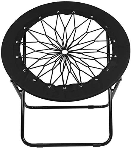 Bungee Stuhl Elastisch Bungee Chair Outdoor Gartenstuhl Abnehmbar Sitzpolster Faltbar Klappstuhl Runder Sessel mit Netz aus Seilen und Seitentasche Trampolinstuhl Federung Campingsessel bis 111 kg