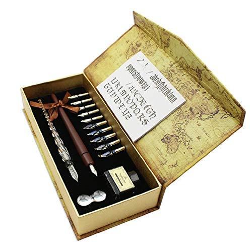 Juego de pluma de lluvia de lluvia de lluvia de madera, juego de tinta para caligrafía de dibujo, firma de dibujo, firma de dibujo Clear Stamps para Scrapbooking y