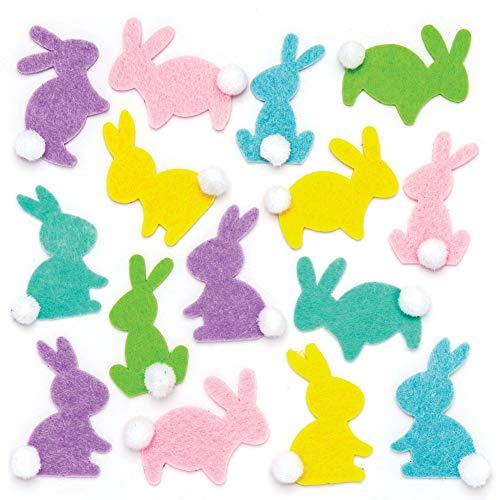 """Baker Ross Filzaufkleber """"Hasen"""" (60 Stück) – für Kinder zum Basteln und Gestalten zu Ostern"""
