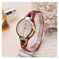 ファッションウォッチ 女性のカジュアル腕時計ラウンドダイヤルリベットPUレザーストラップ腕時計レディースアナログクォーツ時計ギフト 女性の為に (Color : Red)